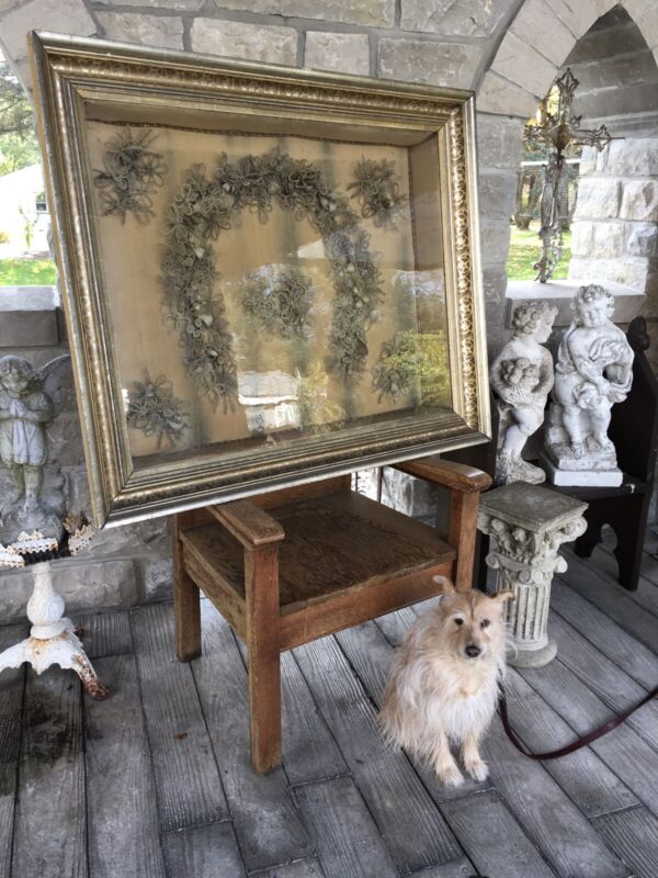 MUSEUM QUALITY 4FT. VICTORIAN ERA HAIR WREATH FRAMED MEMORIAL DATED 1885
