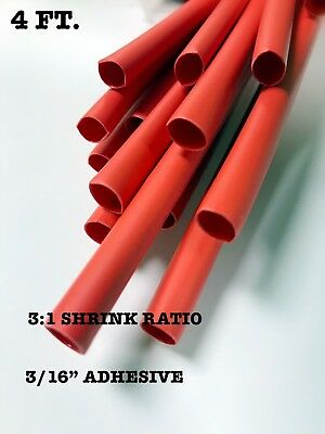 4 Ft. Red 316 5mm Id Dual-wall Adhesive 31 Ratio Heat Shrink Tubing M230534
