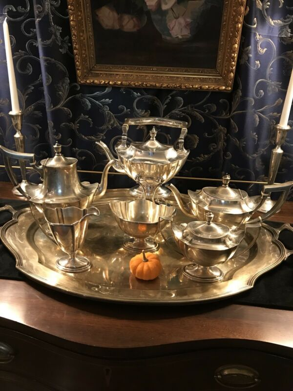 Gorham Plymouth Sterling Silver Tea Set with Kettle