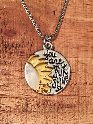 """Rustic Sunshine Charm Necklace-You Are My Sunshine-18"""" Chain-Women's SHIP FREE](You Are Sunshine)"""