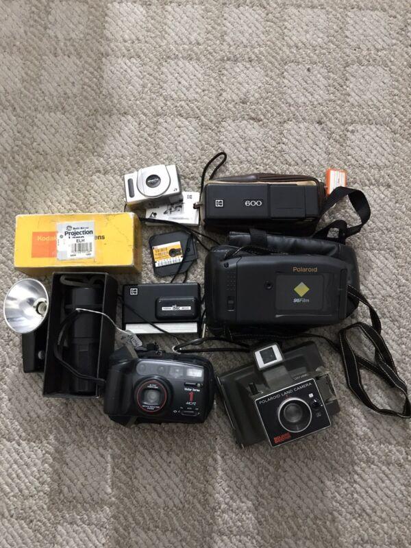 Huge Vintage Camera Lot Film Cases Kodak Vivitar Polaroid Projection Piece