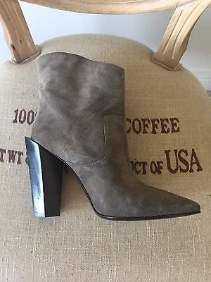 Fendi Grey Gray Leather Suede Alexane Shoes Booties Boots Size 40