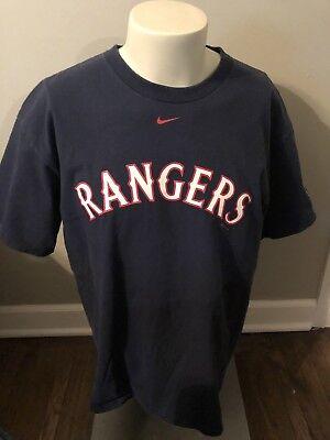(Nike Texas Rangers Shirt - Mens Size Large 2005 Blue MLB Cotton Short Sleeve)
