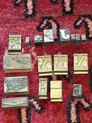 Lot Of 17 Vintage Printing Print Blocks Wood Metal Metal Ink Stamp Usa Map