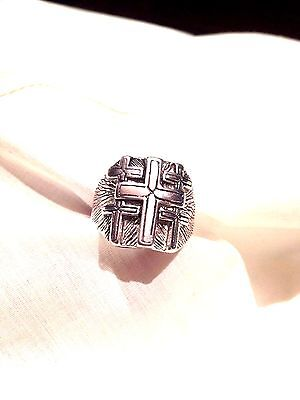 1980's Vintage Large Stainless Steel Size 7 Men's CrossInlay Ring