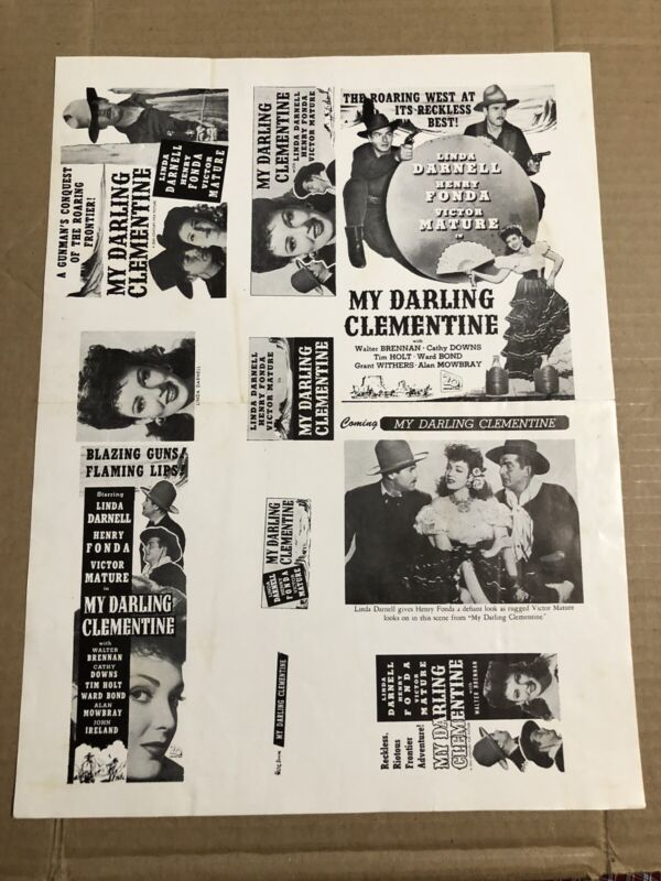 MY DARLING CLEMENTINE - Vintage 1946 Press Kit Ad Advertising Supplement Page