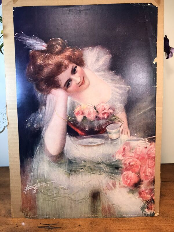 Antique Victorian Lithograph Print Picture Seeing Her Future Girl W/ Flowers