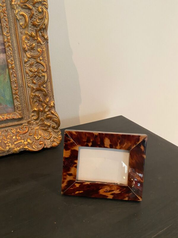 Vintage Faux Tortoise Shell Photo Frame From Domincan Republic
