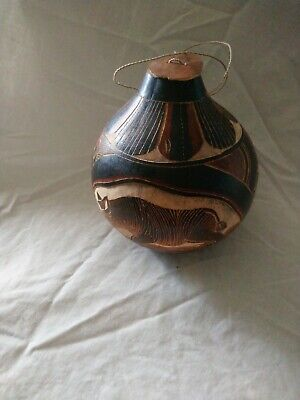 Vintage Carved African Tribal Water Vessel Container Gourd with Lid