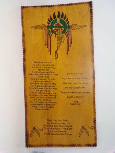 "Vtg 24"" American Indian Lumbee tribe 10 Commandments wood wall art Nez Perce 389"