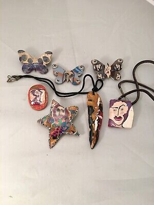 7 Pieceshandmade painted face jewelry necklaces pins butterflys carved teeth odd
