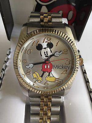 Mickey Mouse Wrist Watch - Disney Mickey mouse MEN,two Tone  watch, Quartz. new/ Box warranty. Free  Ship
