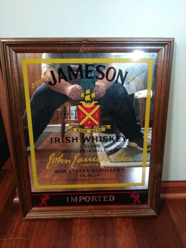 VTG JAMESON IRISH WHISKEY MIRROR SIGN EST 1870 JOHN JAMESON  SON BOW STREET DIST