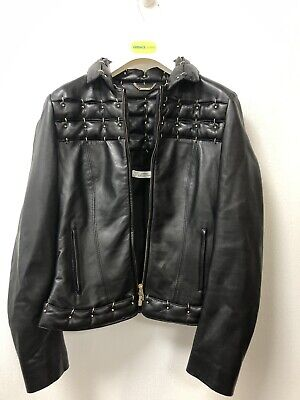 Ladies geuine Leather VERSACE Biker Jacket Size 12 Medium