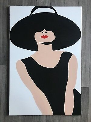 Audrey Hepburn Original Modern Fashion Pop Art Framed Canvas Painting