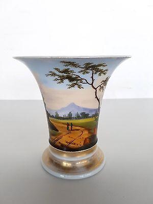 Biedermeier-Vase rundum aufwendig bemalt mit Landschafts Szenen um 1840