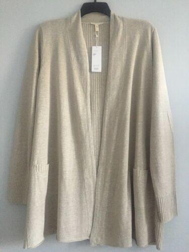 NWT $278 Eileen Fisher PEBBLE Organic Linen Straight Long Cardigan 1X 2X