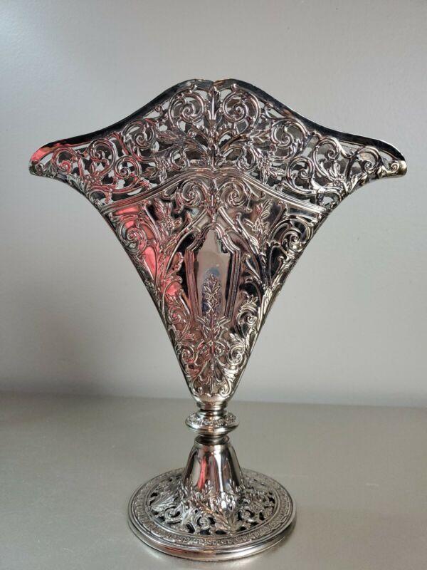 1991 GSA Godinger Silver Art Nouveau Pierced Flat Fan Shaped Vase Silverplated