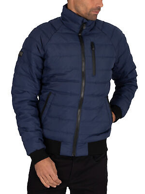Superdry Men's Commuter Quilted Bomber Jacket, Blue