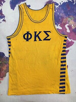 Fraternity Phi Kappa Sigma Tank Top Jersey 60s 70s Gold Durene Shirt VTG Sewn