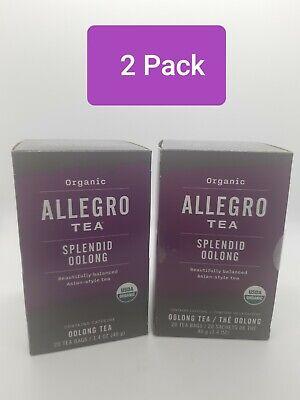 2 Pack Allegro Organic Tea Splendid Oolong 20 Tea Bags per box ,Best By