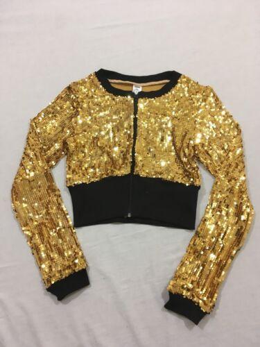 M90 Balera Dancewear Gold Sequin Crop Dance Zip Jacket Keyhole Top Child