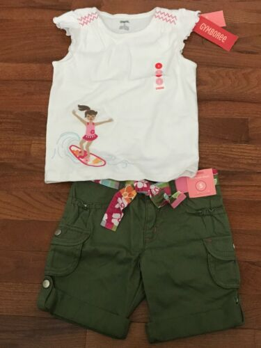 NWT Gymboree Floral Reef White Surfer Girl Top & Olive Green Bermuda Size 5 5T