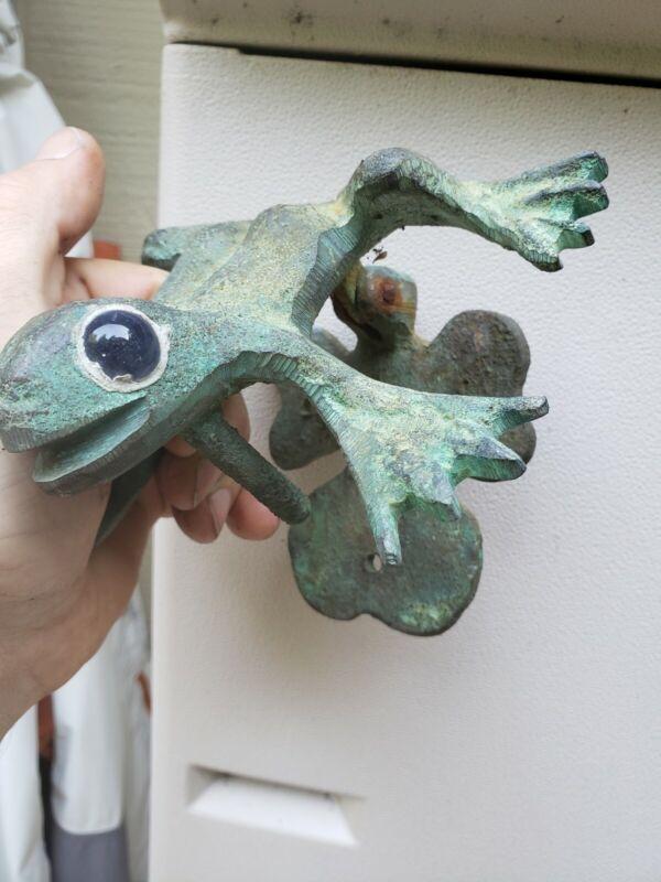 Vintage Brass Frog Door Knocker glass eyes rare