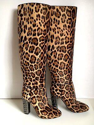 NEW $2400 DOLCE & GABBANA Leopard Pony Hair Studded Leather Boots  EU 39.5 US 9M