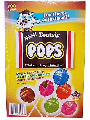Assorted Tootsie Pops Filled With Chewy Tootsy Rolls Candy Lollipops 100 ct - Chewy Candy
