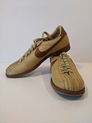 Vintage 70s/80s Nike Mens Bowling Shoes Beige Brunswick Brown Size 9 Rare