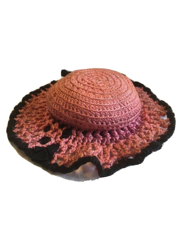 Vintage Hand Crocheted Bonnet Hat Pin Cushion. Pink And Black.