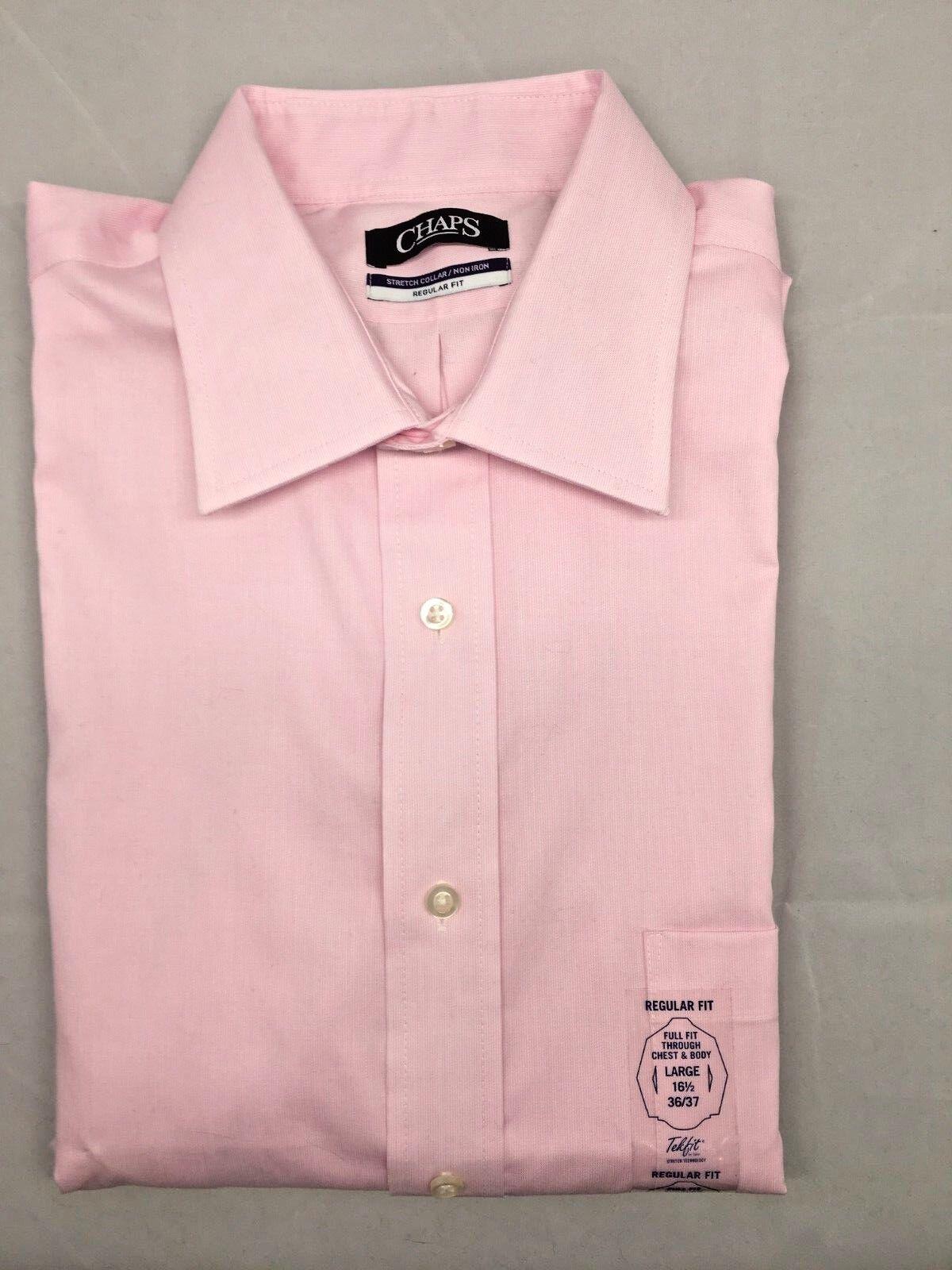CHAPS $65 Pink REG FIT NON IRON STRETCH COLLAR Cotton Dress