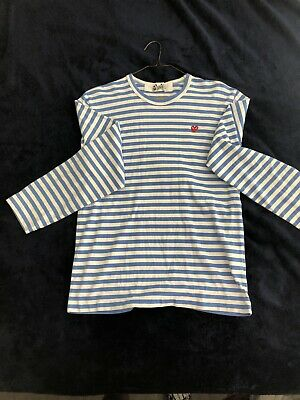 Comme Des Garçons Play Striped Blue & White Heart Long Sleeve T-shirt Men's