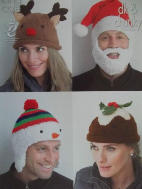 CHRISTMAS HATS KNITTING PATTERN SANTA RUDOLPH PUDDING SNOWMAN.  KING COLE 4114