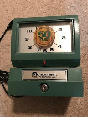 Acroprint Model 125nr4 Time Recorder Heavy-duty Manual Print Time No Key-tested.