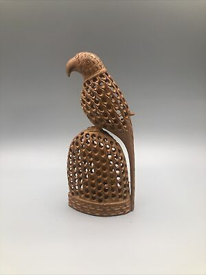 Hand Carved Wood Parrot On Cage With Small Parrots Inside Figurine
