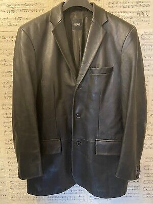 Original Hugo Boss Soft Leather Blazer Jacket Black Size Medium