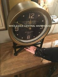 NEW 16 MID CENTURY RESTORATION METAL BLACK FACE ROUND TABLE DESK MANTLE CLOCK