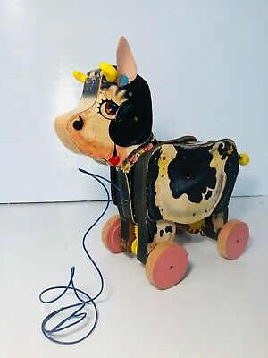 Vintage Fisher Price Moo-oo Cow #155 Wooden Pull Toy 1958-1961