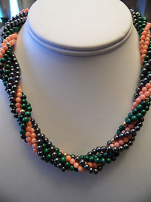 (Vintage 6 Strand Torsade Choker Necklace 14K Clasp Coral Malachite Hematite)