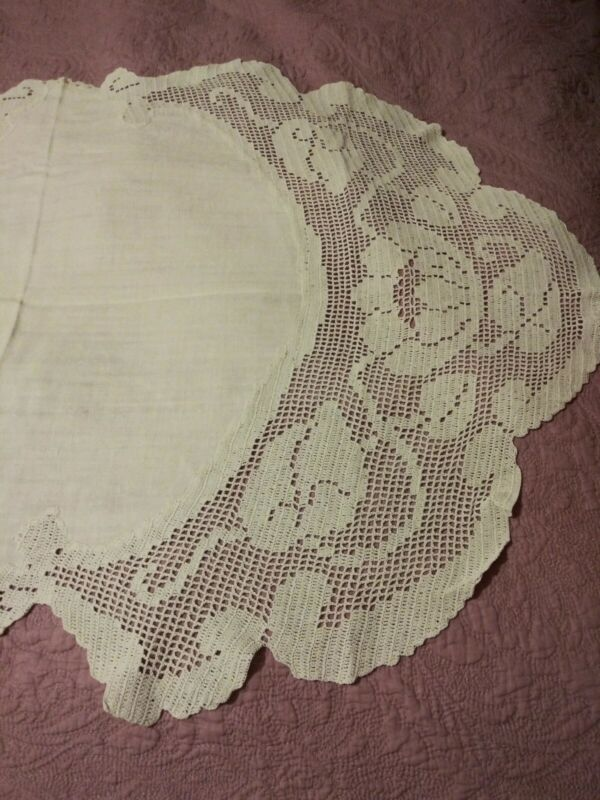 Art Nouveau Antique Linen Extra Large Crochet Lace Runner 48 by 32 Inches As Is