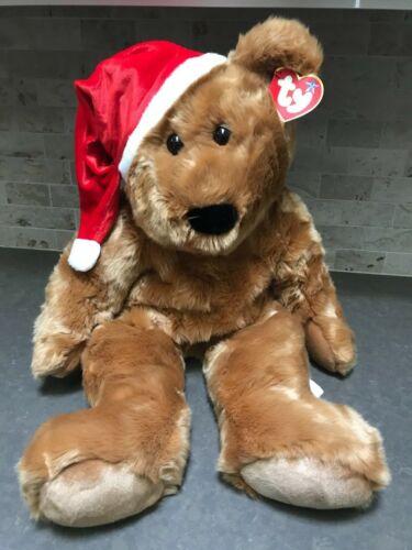 "TY Beanie Buddies EXTRA LARGE 28"" 1997 Holiday Teddy Bear 2001 Tush Tag NEW TAG"