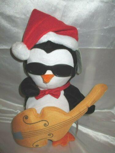 Gemmy PENGUIN Animated Singing Christmas Plush w/ Bass Guitar Sunglasses NWT