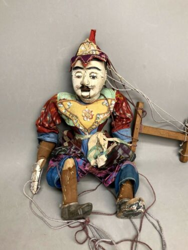 """Antique 16"""" Thai Indonesia Burmese Hand Made Wood Marionette String Puppet, Rare"""