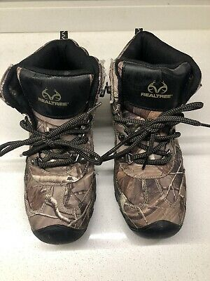 Real Tree Youth Boys Mid-Top Hiking Boots Size 3 Camping Shoes Camo NWOB