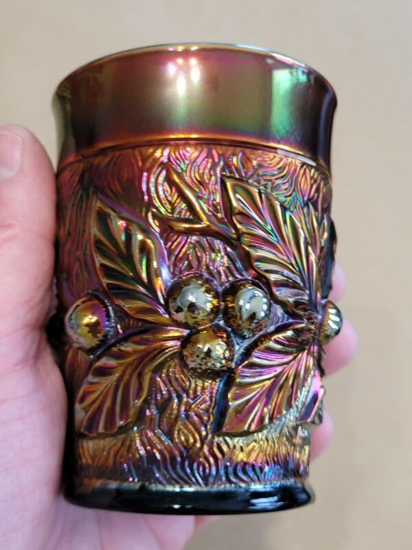 Wow Purple Northwood Carnival Glass Acorn Burrs Tumbler Great Color