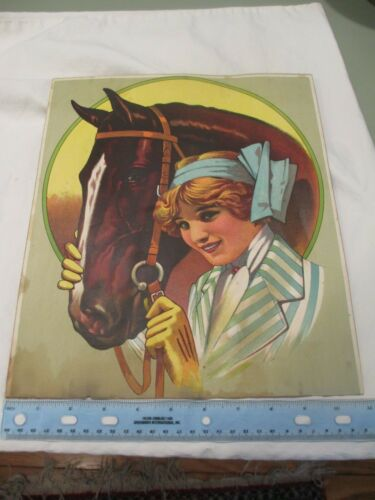 c1900 Girl and horse Chromolithograph Print 11x12.5""