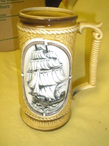 "Beautiful Williamsburg Ship Stein 7.5"" tall"