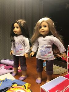 Bundle of 2 American Girl Dolls & 17 Outfits